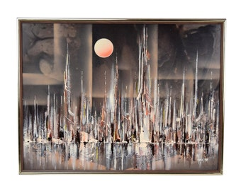 1985 Abstract Modernist Cityscape Skyline by Water Rick Rubin Chicago Artist