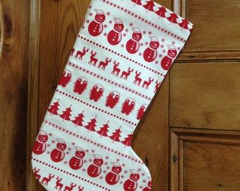 Personalised Nordic stocking,  Christmas reindeer stocking, gift stocking, snowman hanging stocking, Christmas decor, handmade Christmas