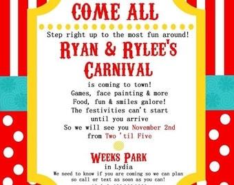 Carnival themed 5 x 7 invitation
