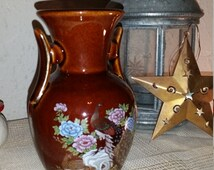 2 handled Redware pottery vase made in japan, peacock and floral vase,  redware floral vase, pottery vase, Japanese vase, peacock vase