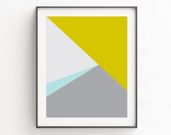 Minimalist Art, Modern Wall Art, Geometric Print, Instant Download Printable Art, Grey and Yellow Wall Art, Geometric Art
