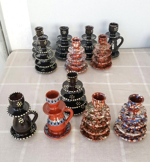 Vintage handmade ceramic candle holders Handpainted Glazed Turkish ceramic candle holders Decorative Pottery Small candlestick Terracotta