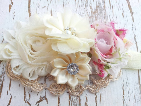 Baby Girl Headbands, Hair Bows For Girls, Shabby Chic Headband, Flower Headband, Infant Headband, Headbands For Girls, Kids Hair Bows