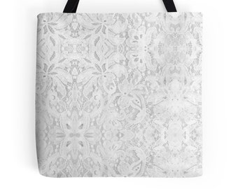 White Lace Tote Bag, 3 Sizes Available