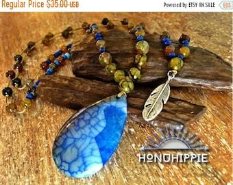 womens fashion boho necklace , hippie mala feather pendant