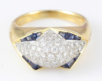 18K Vintage Diamond Ring Yellow White Gold Pave' Blue Sapphire
