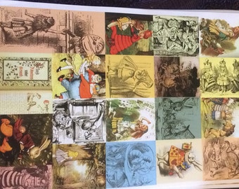 Vintage Alice in Wonderland ( lewis carroll ) Decoupage A4 Paper- 10 sheets .