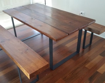 Rustic Reclaimed Wood and Steel Table with Benches