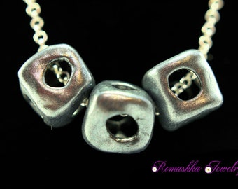 Handmade Necklace, Polymer Clay Necklace, Beaded Necklace, Jewelry, Silver Color Necklace, Chain Necklace, Square Beads, Hollow Beads