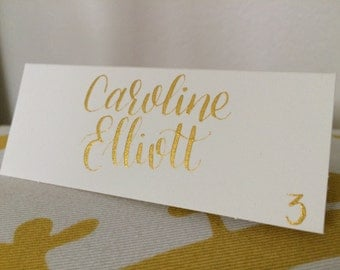 Gold Wedding Place Cards - Modern Calligraphy