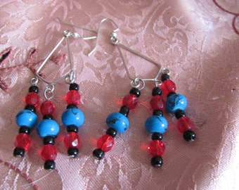 turquoise black and red dangly earrings