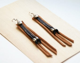Black & Tan Leather Earrings
