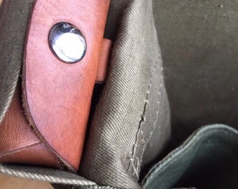 Vintage canvas and leather Messenger bag refurbished by 'Chaps Away.'