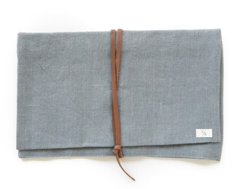 Linen Holdall Pouch in Smoke Gray