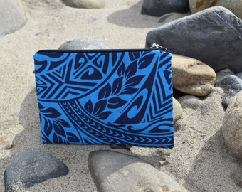 Blue and black tribal print, makeup bag, wristlet, travel bag