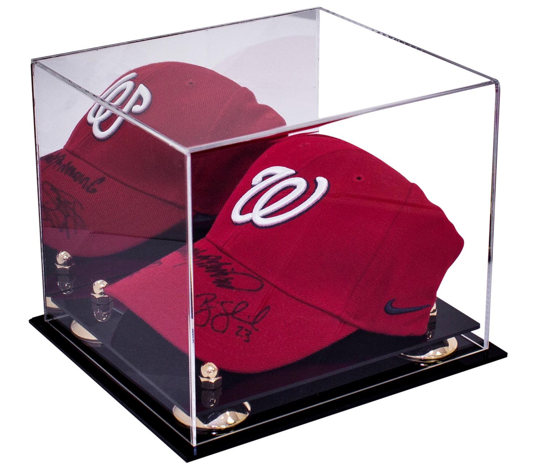 Acrylic Hat Boxes : Baseball cap display case with mirror handmade acrylic