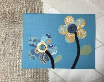 Handmade Greeting Card; Mixed Media Paper & Buttons