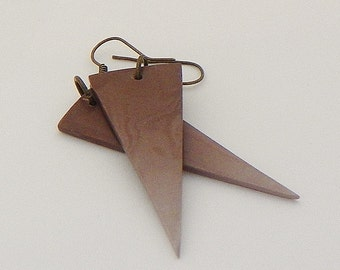 Chocolate Brown ombre, watercolor polymer clay triangle Spike dangle earrings