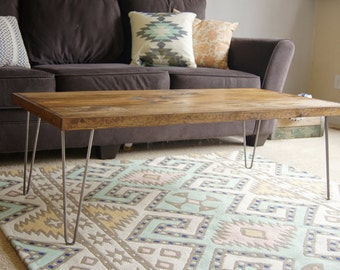 Coffee Table Wood Hairpin Modern Industrial Furniture