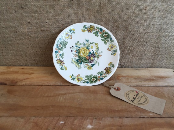 MASONS IRONSTONE CHINA Collectible Plate / Saucer 17cm Wide - Green Yellow and Orange China Plate - Strathmore C4897 - Made in England