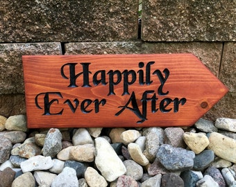 Outdoor wedding sign CUSTOMIZABLE , happily ever after, event sign