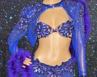 Purple Silver Vegas Showgirl Burlesque Samba Bellydance Costume