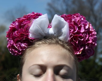 Classic DEEP Pink Floral Minnie Ears