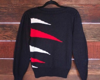Vintage Black & Red Sweater - 1980s - Triangle - Small
