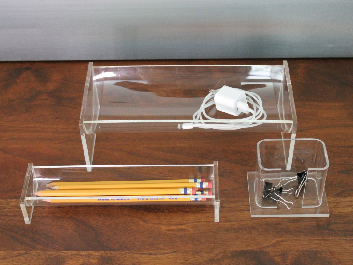 Clear acrylic lucite desk organizer set - Acrylic desk organizer set ...