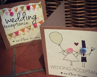 wedding acceptance, bunting or button people (personalised as option) cards