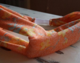 Orange Twisted Headband, Yellow Floral accents