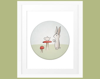 Bunny rabbit drinking tea cute hand drawn illustration children's wall decor 8x10 INSTANT DOWNLOAD