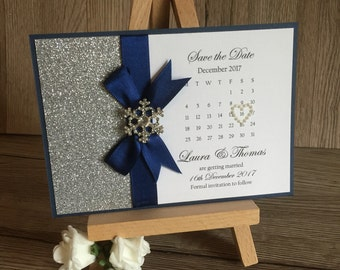 Save the Date snowflake themed A6 postcard wedding stationery