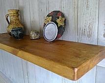 "Floating Shelves, Wall Shelves, Pine Wood  - 9"" Deep - Old Pine Natural Wax ..."
