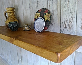 "Floating Shelves, Wall Shelves, Pine Wood  - 9"" Deep - Old Pine Natural Wax ..."