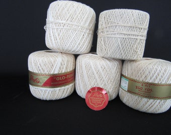 "Crochet Thread Lily ""Glo-Tone""  5 Rolls Art. 42 Color #4 Natural Boilproof 4 ply 250 Yards/spool Vintage 2 spools are partial"