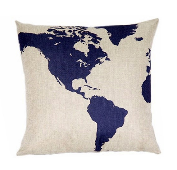 Throw Pillow Cover Designs : Globe Map Design Pillow Cover Case Decorative Pillow Cover