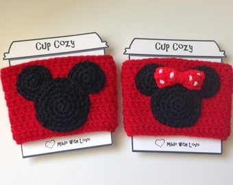 Mickey and Minnie Crochet Cup Cozy, Disney Coffee Cozy, Mickey and Minnie Coffee Sleeve