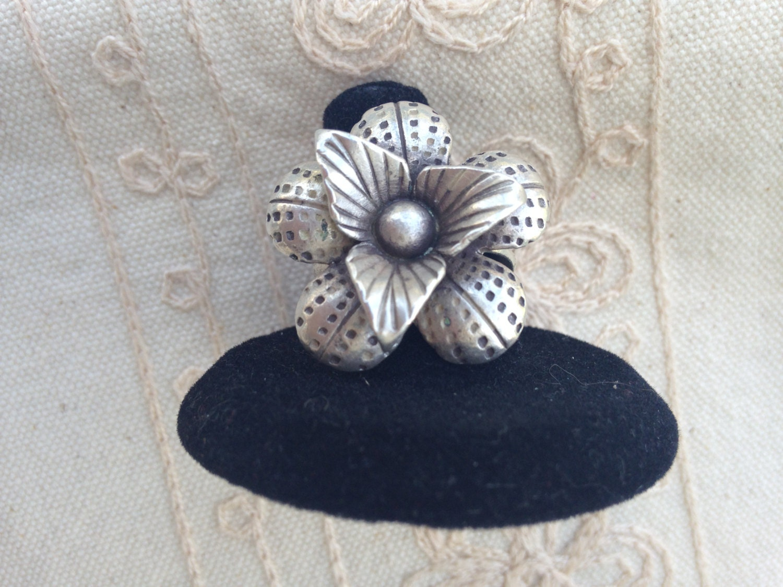 Vintage Silver Ring Silver Flower Ring Vintage Silver Flower