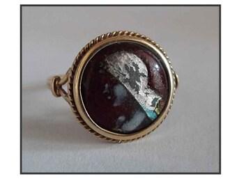 ANTIQUE GOLD RING / ring gold 18 K & Limoges enamel.