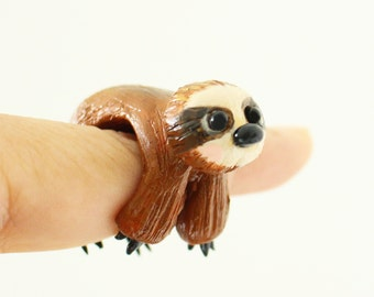 Sloth ring - Polymer clay miniature, Folivora - Wearable art