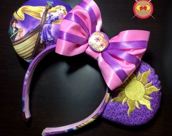Rapunzel Mickey Ears Headband with Magic Flower Embroidery