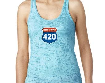 High Way 420 420 Day High Street Women's Burnout Tank