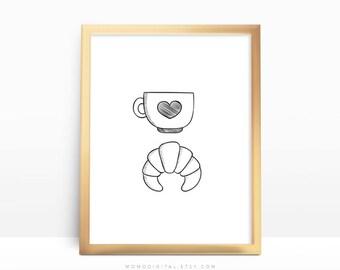 SALE -  Breakfast Illustration, Morning Time, Good Morning Art Poster, Black White, Drawing Sketch Doodle, Tea Heart Croissant Food