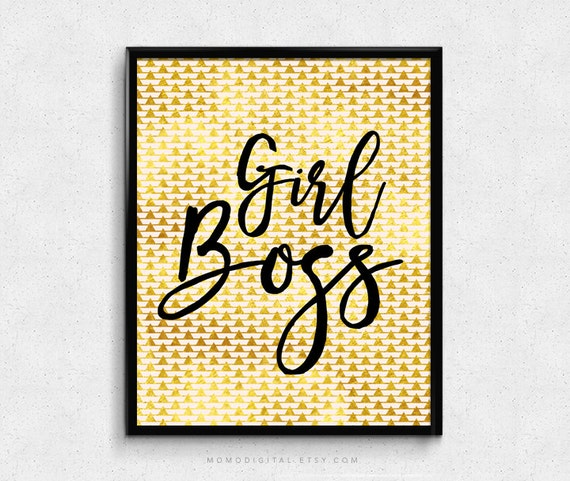 Sale girl boss modern calligraphy office work space faux