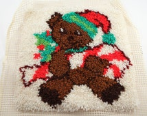 Latch Hook Teddy Bear Christmas Theme Vintage Retro