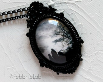 Trees and clouds photo pendant