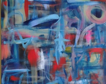 Blue Pink Red Yellow White Cream Abstract Painting Painting 16x20 Canvas Modern Expressionism