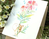 Mouse Blank Notecard | Stationery | Watercolor Painting | Greeting Card