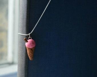 Strawberry Ice Cream Charm Necklace.